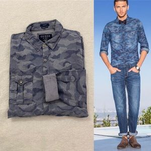 Guess Blue Camouflage Button-down Shirt